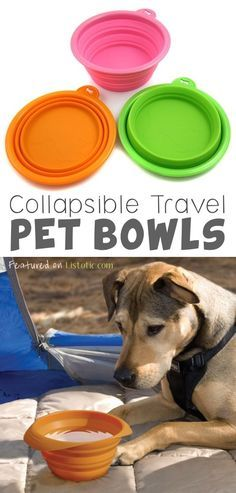 Collapsible Pet Bowls - If you like to take your dog camping, traveling, or out for long walks, these silicone bowls easily collapse and hook onto your leash, or even fit into a pocket, purse or bag. Leave one in the car so you always have one on-the-go!