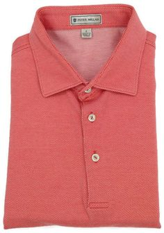 Peter Millar Polo Shirt Large Mens Short Sleeve Golf Knit Pink Birdseye Men Sz L #PeterMillar #PoloRugby