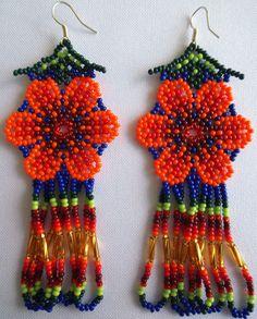 Huichol Beaded Flower earrings by Aramara on Etsy Seed Bead Jewelry, Seed Bead Earrings, Flower Earrings, Etsy Earrings, Beaded Jewelry, Seed Beads, Beaded Earrings Patterns, Native Beadwork, Native American Beading