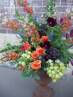 Fall Floral Arrangment with grapes...