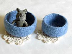 Light blue Felted bowl - robin egg pastel blue