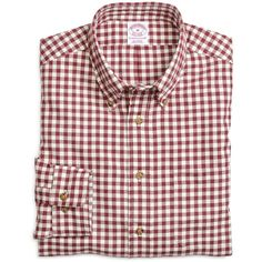 Brooks Brothers Regular Fit Flannel Gingham Sport Shirt ($39) ❤ liked on Polyvore featuring men's fashion, men's clothing, men's shirts, men's casual shirts, tops, blouses, shirts, burgundy, men's regular fit shirts and mens burgundy shirt