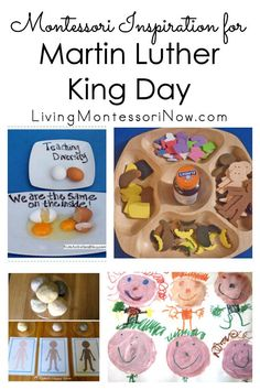 Montessori ideas and activities for Martin Luther King Day; Martin Luther King Day activities for classroom or home for multiple ages - Living Montessori Now Diversity Activities, Montessori Activities, Kindergarten Activities, Preschool Activities, Kindness Activities, Preschool Class, Martin Luther King Speech, Black History Month Activities, King Jr