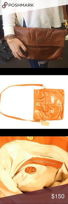 Tory Burch Crossbody Good condition Slight wear on edges Snap closure Adjustable crossbody strap Fold over or wear open! - price firm no trades, buy for less & free shipping at www.chicboutiqueconsignments.com Tory Burch Bags Crossbody Bags