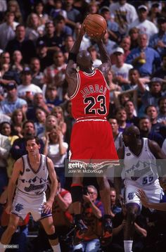 NBA Finals, Rear view of Chicago Bulls Michael Jordan (23) in action, making game winning shot vs Utah Jazz, Game 6, Salt Lake City, UT 6/14/1998