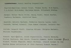 Reading list by Brodsky