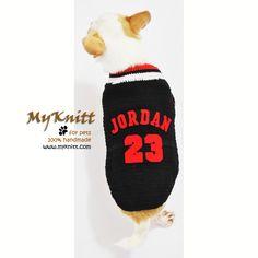 Michael Jordan 23 dog jersey. Top quality handmade crocheted from Myknitt Designer Dog Clothes. #Myknitt #Jordan23 #MICHAELJORDAN23 #handmade #DIY #crochet
