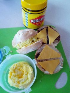 Egg, Cheese and Vegemite burger buns.  A real treat for the kids considering I have to get this sent to Canada from Australia. Promite is disgusting... so I will not even entertain the idea of that imposter LOL!  This is how I make them anyway :-D