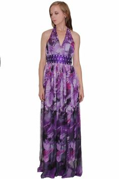 Beautifly Women's Hand Beaded Crystals Embellished Floral Print Halter Dress #Luxy #WomensDress #FloralPrint #Halter #Dress
