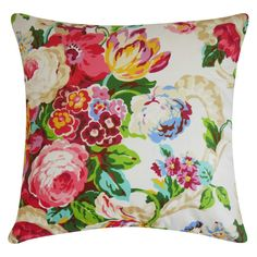 Lorie Pillow: Bring a pop of garden-chic style to your sofa or favorite reading arm chair, with this lovely cotton pillow, featuring a multicolor floral motif and down-feather fill. Made in the USA. Floral Throws, Floral Throw Pillows, Decorative Throw Pillows, Colorful Pillows, Pink Pillows, Duvet, Floral Bedding, Bright Bedding, Black Bedding