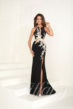 Tiffany Designs 16282 is a long sleeveless fit and flare jersey prom dress with a sheer cut out bodice, embroidered floral detail, cut out back, and a side slit. Prom Dress Stores, Pageant Dresses, Homecoming Dresses, Formal Evening Dresses, Formal Gowns, Evening Gowns, Couture Dresses, Fashion Dresses, Black White Wedding Dress