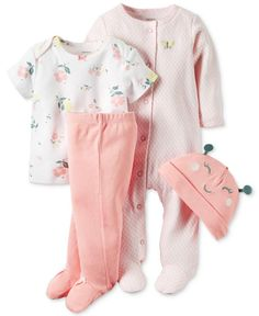 Carter's Baby Girls' Little Blooms 4-Pc. Hat, T-Shirt, Footed Pants & Footed Coverall Set - Brought to you by Avarsha.com