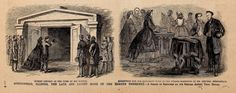 Mourners at Abraham Lincoln's Funeral in Springfield, IL: In the June 10th, 1865 edition of Frank Leslie's Illustrated Weekly newspaper, this image was printed next to an article about President Lincoln's funeral in Springfield, Illinois. It shows President Lincoln's eldest son, Robert, at his tomb and others raising money to build a memorial to President Lincoln. President Lincoln was buried on May 4, 1865 at Oak Ridge Cemetery. The illustrated literary and news publication was founded in…