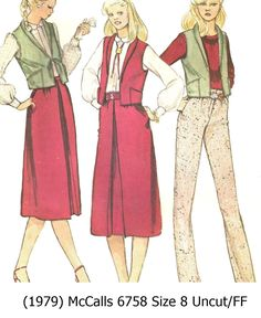 McCall/'s 3377 Misses/'//Miss Petite Vest Pants and Skirt 8 to 14   Sewing Pattern