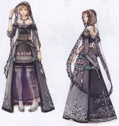 Week 12 - Final Fantasy XII - Concept Art Mon - Ashe Funeral Dress-Lila May Traveling outfit Character Creation, Game Character, Character Concept, Concept Art, Character Design Challenge, Character Design References, Character Design Inspiration, Final Fantasy Xii, Fantasy Art
