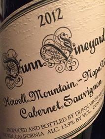2012 Dunn Vineyards Cabernet Sauvignon Howell Mountain
