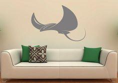 Stingray Wall Decal Fish Vinyl Sticker Sea Ocean Home Interior Wall Graphics Design Art Wall Murals Bedroom Decor (4s01g)