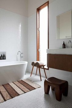Bathroom: penny tiles