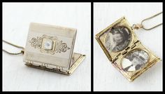Beautiful Vintage and Antique Book Lockets Victorian Books, Victorian Jewelry, Antique Books, Antique Jewelry, Vintage Jewelry, Book Images, I Love Books, Book Recommendations, Book Worms
