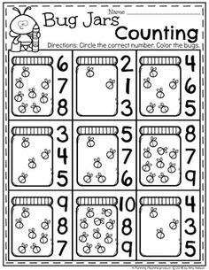 Spring Preschool Worksheets with Bugs - Firefly Counting. #preschool #bugs #bugworksheets #preschoolworksheets #countingworksheets #mathworksheets