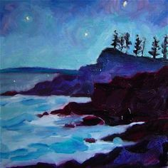 Star Bright Coastal Maine     5x5     oil on paper, painting by artist Elizabeth Fraser
