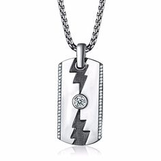 Caperci Mens Sterling Silver Lightning Dog Tag Pendant Necklace with CZ Diamond 262 >>> Check out this great product.