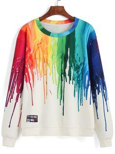 Color Round Neck Ink Print Sweatshirt 21.29