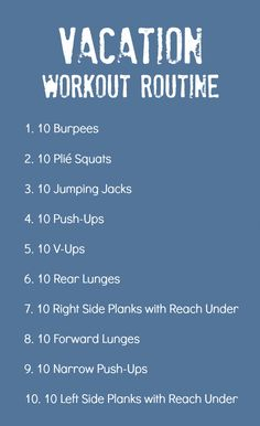 Vacation Workout Routine: Stay in shape when traveling, no equipment needed!!!