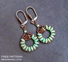 Free pattern for earringsSanremowith tila and superduo   Beads Magic