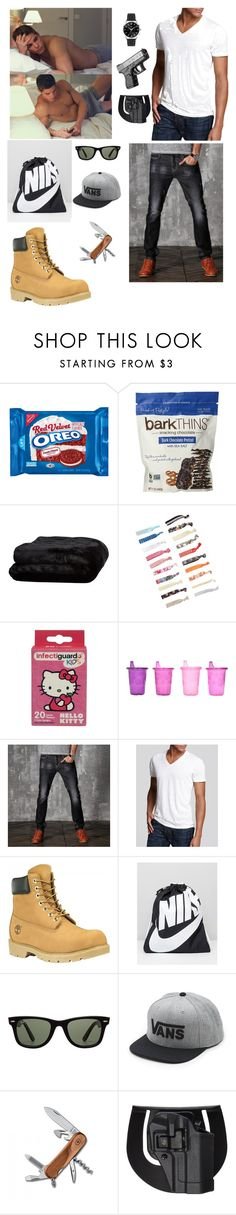 """""""I think I got everything baby-Dylan"""" by gigglyhemmo16 ❤ liked on Polyvore featuring Olivier Desforges, Hello Kitty, The First Years, Alternative, Timberland, NIKE, Ray-Ban, Vans, Victorinox Swiss Army and Smith & Wesson"""