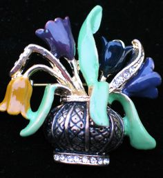 """BRONZE SPRING TULIPS MOTHER'S DAY EASTER FLOWER BASKET VASE PIN BROOCH 1 3/4""""  #Unbranded #PINBROOCHJEWELRY"""