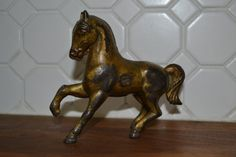 Cast Iron Horse Bank with Gold Brass Tone Great by caddywampus