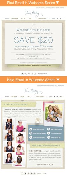 Vera Bradley welcome email series