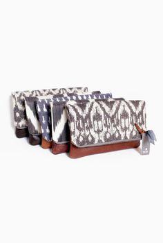 Leather clutch tribal print purse ipad case