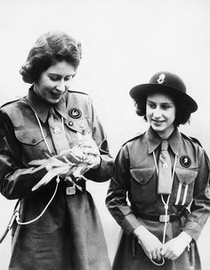 World War II. Future Queen of England Princess Elizabeth and future Countess of Snowdon Princess Margaret, serving in the Women's Auxiliary Territorial Service, circa early 1940s.