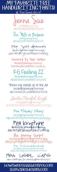 My Favorite Free Handwriting Fonts - How Sweet This Is Jenna Sue Fancy Fonts, Cool Fonts, Pretty Fonts, Calligraphy Fonts, Typography Fonts, Calligraphy Alphabet, Free Handwriting, Pretty Handwriting, Zentangle