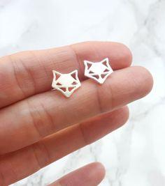 Origami Fox Earrings, silver Fox Studs, Origami fox, Fox Stud Earrings, geometric fox, Fox Jewelry, origami studs, Tiny Gold Studs, renard
