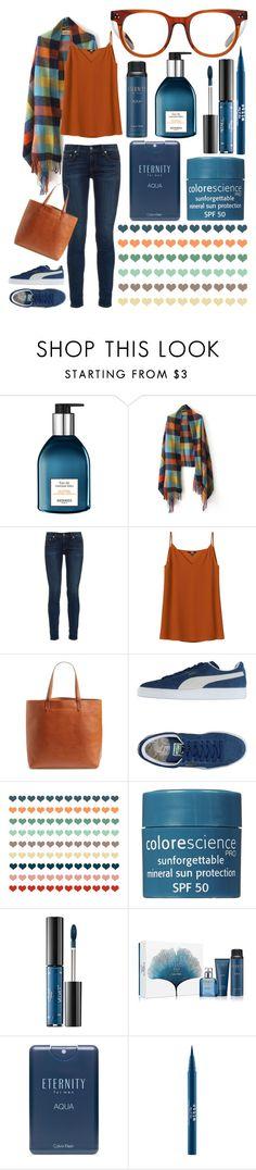 """Color Plaid!"" by carolina-c ❤ liked on Polyvore featuring Hermès, rag & bone, Uniqlo, Madewell, Puma, Colorescience, Ciaté, Calvin Klein and Stila"