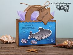 """This is Tanya from Studio 5380 here to share a """"jawsome"""" little gift bag with you today: Isn't this fun? Fun Crafts, Diy And Crafts, Crafts For Kids, Candy Bar Cards, Shark Party Favors, Treat Holder, Treat Box, Lawn Fawn Stamps, Craft Show Ideas"""