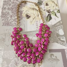 Purple pink fashion necklace Purple pink fashion necklace , used good condition (not j crew tagging for exposure) J. Crew Jewelry Necklaces