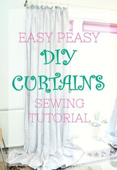 sewing curtain EASY SEW DIY CURTAINS TUTORIAL - Having custom made curtains doesn't have to be expensive! Make your own with this easy peasy DIY curtains tutorial! Custom Made Curtains, No Sew Curtains, How To Make Curtains, Rod Pocket Curtains, Easy Sewing Projects, Sewing Projects For Beginners, Sewing Hacks, Sewing Tutorials, Sewing Tips