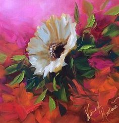Raspberries and Creme White Daisy - Flower Paintings by Nancy Medina, painting by artist Nancy Medina