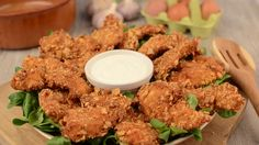 Chicken strips with lettuce and garlic dip footage video