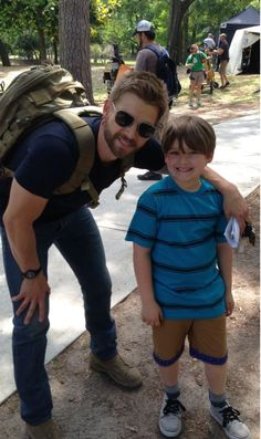 """Brody Rose with Mike Vogel on the set of """"Under the Dome"""". Season 2 http://www.imdb.com/name/nm2656225/?ref_=nmmd_md_nm http://www.cbs.com/shows/under-the-dome/"""