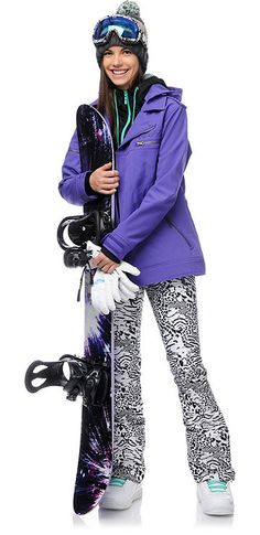 Make a Statement in these Burton TWC Sugartown Zebra Print Snowboard Pants. (Pictured with Neff Girls Dre Softshell Jacket)