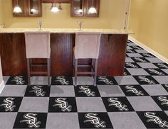 This Chicago White Sox carpet tiles set if the perfect DIY home decor project.  Your game room, basement or personal bar will be instantly transformed.