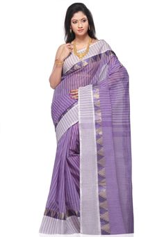 Light Purple Cotton Tant Handloom Saree with Blouse Online Shopping: SPN1884