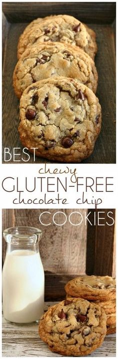 Best Chewy Gluten-Free Chocolate Chip Cookies Recipe- Amazing cookies with chewy edges and gooey centers!Best Chewy Gluten-Free Chocolate Chip Cookies Recipe- Amazing cookies with chewy edges and gooey centers! Gluten Free Deserts, Gluten Free Sweets, Foods With Gluten, Gluten Free Cooking, Dairy Free Recipes, Vegan Gluten Free, Gf Recipes, Celiac Recipes, Recipies