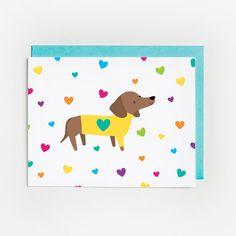 Just Because Card, Rainbow Dachshund Hearts