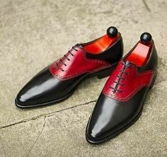 Two Tone Men Red Black Leather Handmade Oxford Plain Pointed Toe Stylish Shoes sold by Lajuria. Shop more products from Lajuria on Storenvy, the home of independent small businesses all over the world. Suede Leather Shoes, Leather Men, Black Leather, Cowboy Shoes, Fashion Slippers, Custom Design Shoes, High Ankle Boots, Elegant Man, Black Oxfords
